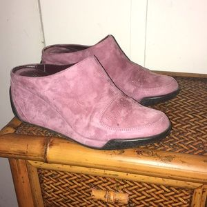 ⏬Via Spiga Pink Suede Mules Wedge Size 6.5 M🔥